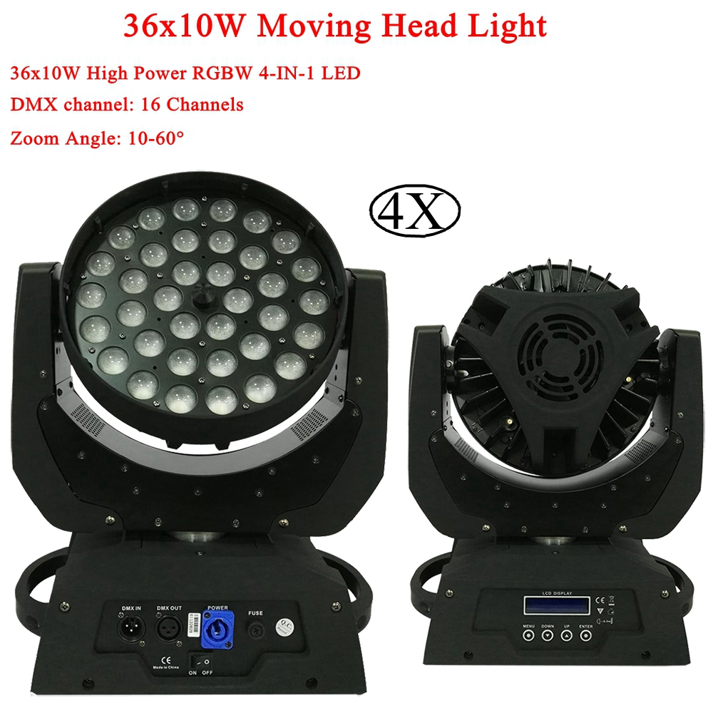 4Pcs/Lot 36x12W Zoom Wash LED Moving Head Light 430w Hight Power RGBW 4IN1 LED DMX512 For Disco DJ Bar Party Stage Lights