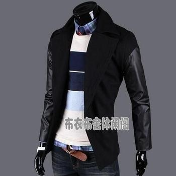 Black casual long leather sleeve wool coat men 2016 jackets and coats male mens wool overcoats dress winter short trench jacket