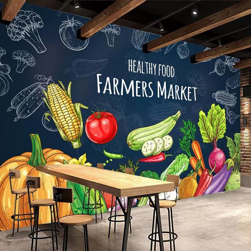 Blackboard Wallpaper Murals Food Wallpaper Murals Bistro: Custom 3D Photo Wallpaper Creative Hand Painted Healthy