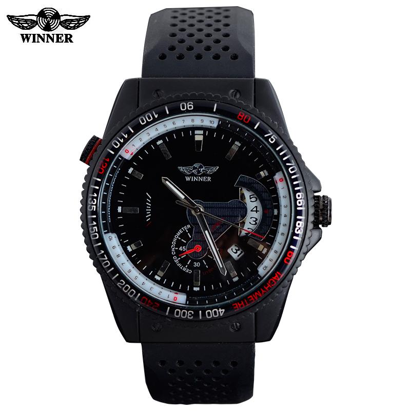 Prix pour 2016 vainqueur marque hommes automatique auto vent mécanique montres mode casual sport bracelets Rattrapante date bracelet en caoutchouc