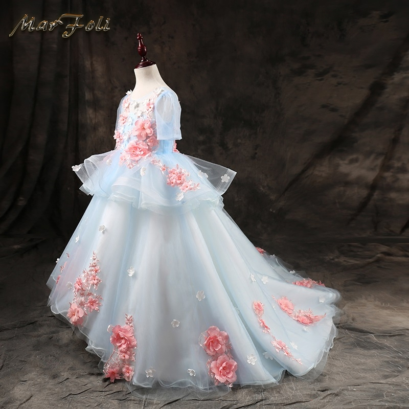 Marfoli Flower Girl Dress Blue Rose Floral Wedding Pageant Kids Boutique 2017 Summer Princess Party Dresses Clothes TZ02