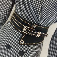 Women black leather PU wide belt for dress luxury rivets pin buckles chic punk elastic waistband adjustable wide belt pink blue