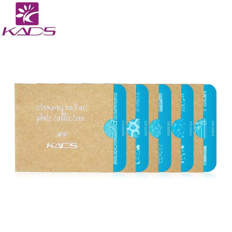 KADS 5pcs/set Flower Stamping Print Sencil Nail Art Polish Stamping Plates Nail Beauty Template Manicure DIY Styling Tools rectangular nail art stamping stamper scraper 50sets lot diy nail beauty polish design printing manicure nail template tools