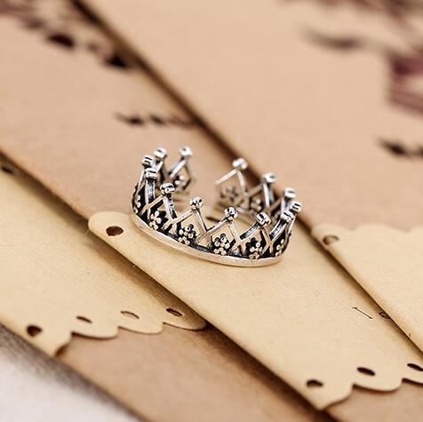 Real 925 Sterling Silver Hollow Crown Rings For Women Fashion Adjustable Size Wedding Ring Anillos