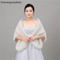 Forevergracedress 2017 Winter Season Faux Fur Wedding Wrap Bolero Jackets Bridal Coat Cape Cloak Shawls Scarves