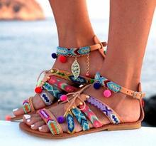 2018 Europe and the United States Large size sandals Women Bohemian Mouth Clan Wind flat Sandals