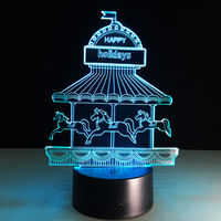 Happy Holiday Childhood Memory Gift New Merry Go Round 3D Illusion LED Night Light 7 Colors