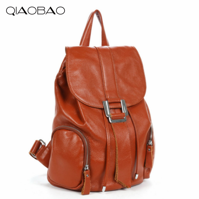 QIAOBAO Fashion 100% Genuine Leather Backpack Women Bags Preppy Style Backpack Girls School Bags Zipper Shoulder Women's Bag qiaobao qiaobao japan and korean style genuine leather women backpack vintage school backpack for girls brand designer bags best