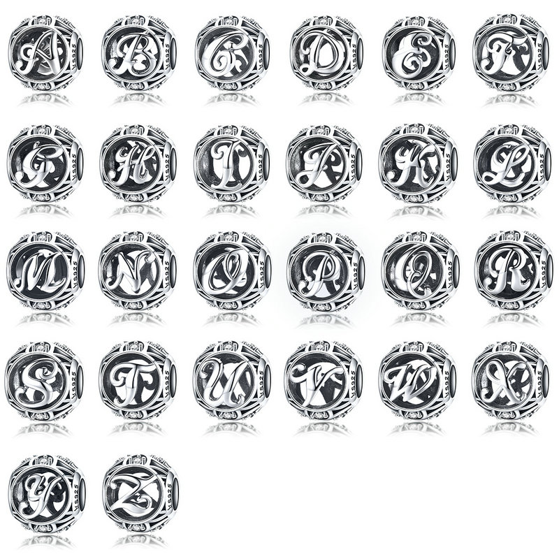 US $4 99 30% OFF MYBEBOA 2018 New Design 925 Sterling Silver Alphabet A to  Z 26 Letters Beads fit Original Pandora Bracelet DIY Charms Jewelry-in