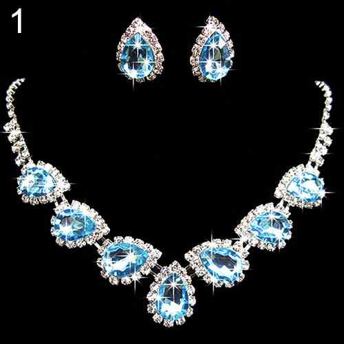 Women Fashion Prom Wedding Bridal Romantic Style  Crystal Rhinestone Waterdrop Shape Necklace Earring Jewelry Set