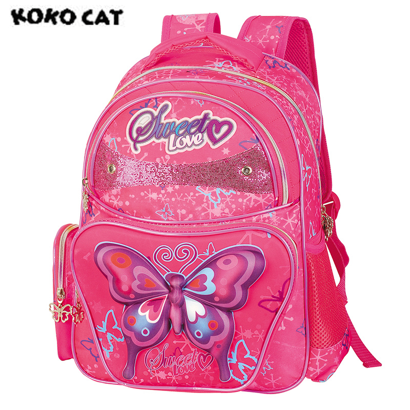 2017 Cute Butterfly Kids Children School Backpack Bags Bookbag Female School Backpacks for Teens Girls Student Schoolbag