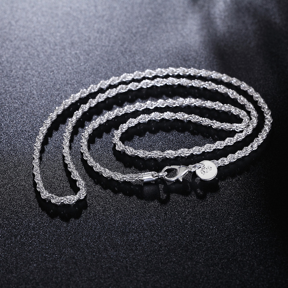 GINSTONELATE 16 24inches Rope chain NEW ARRIVE hot sale fashion cute silver plated women men Necklace