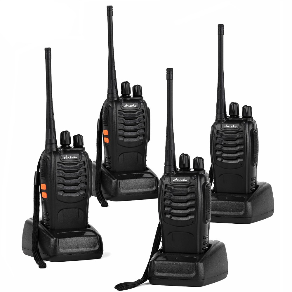 Ansoko A-888S Rechargeable Walkie Talkies Long Range Two-Way Radios With Earpiece UHF 400-470Mhz Walkie Talkie With Charger