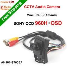 Envío Libre NGtechnic SONY CCD 700TVL Effio 960 H Menú OSD CCTV Mini Cámara de Vídeo HD con Audio pick-up