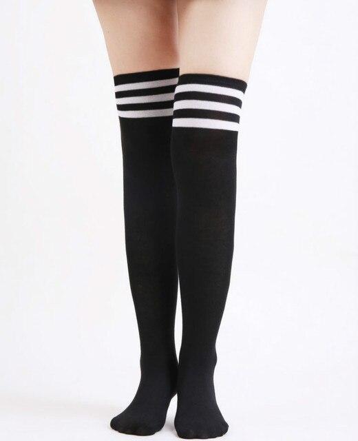 ef3acbf9749 Lovely Black Striped Long Sock Women s Stockings Over The Knee Socks Thigh  High Thick Girls Princess