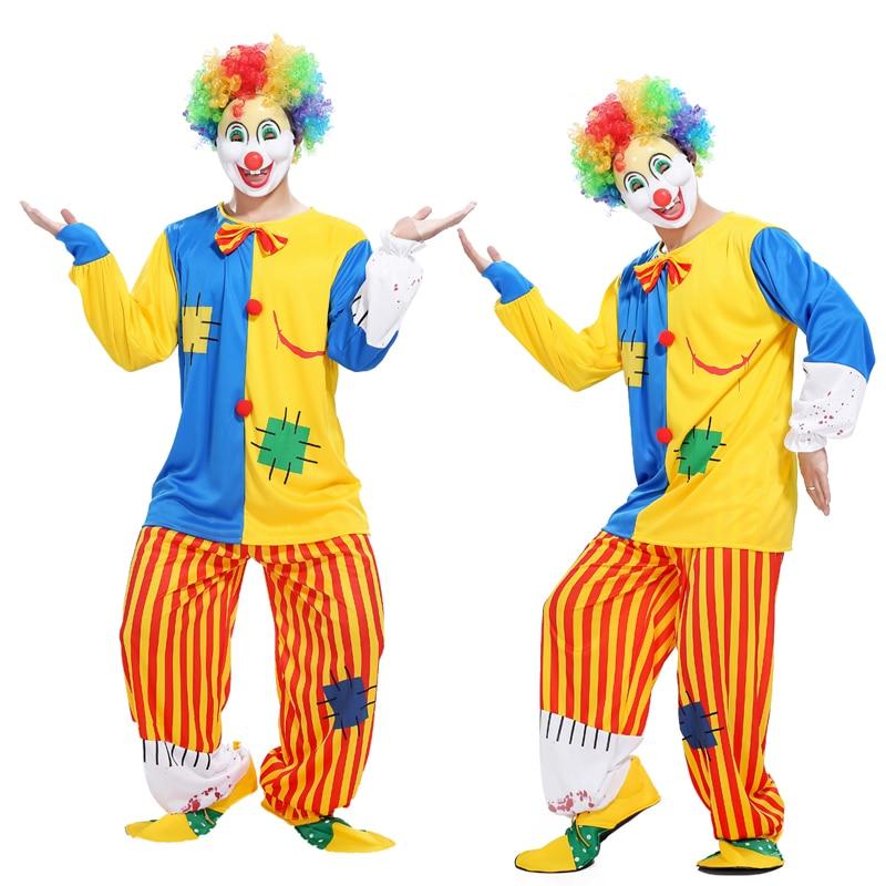 Хэллоуин взрослых клоун костюм маскарадный костюм косплей магическое шоу кровавый смешно полосатый костюм клоуна