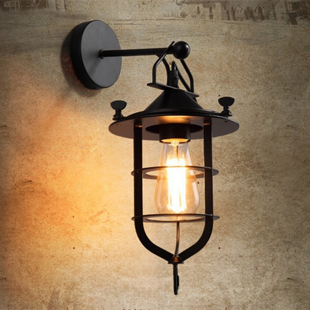 Vintage Iron American Wall Lamp Modern Black Wall Lights For Bedroom ...