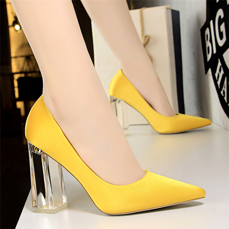 19 Plus Size 43 Women Block 10cm High Heels Lady Scarpins Green Satin Pumps Female Wedding Yellow Blue Silk Transparent Shoes 22