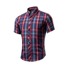 Mens short Sleeve printed Clearance Slim Fit Button Front Shirts casual red plaid designer shirt boy male autumn spring clothing(China)