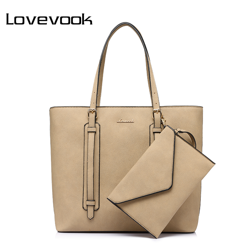 LOVEVOOK  fashion shoulder bag for women 2017 high quality clutch composite bag zipper large capacity totes new handbags