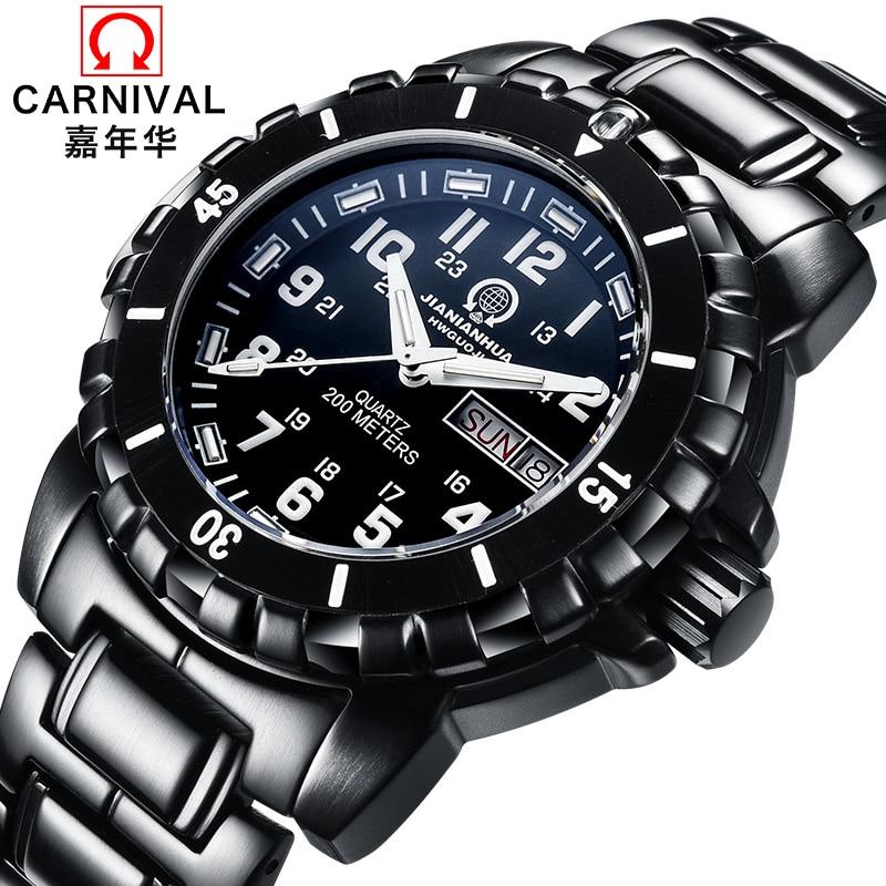 2017 Authentic Carnival Men Quartz Watches Black Door Appearance Luminous font b Sports b font Men
