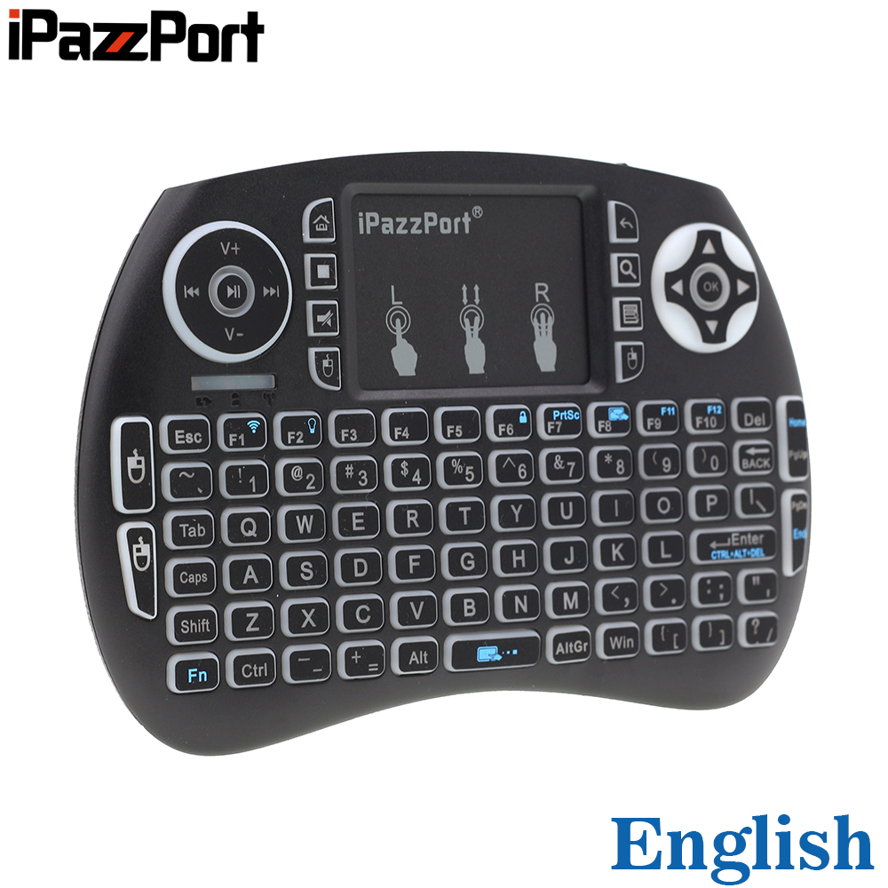 Laptop Mini Pc Ipazzport Kp-810-21s Rgb Backlit 2.4ghz Mini Wireless Keyboard Air Mouse With Touchpad For Android Tv Box