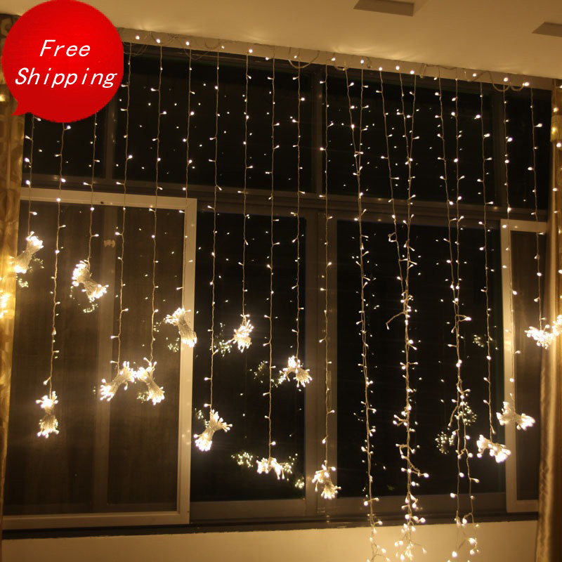 6*1 m LED Holiday lighting curtain garland String lights Fairy wedding party garden indoor outdoor Christmas Decoration Lighting multicolor led string strip christmas holiday wedding curtain lights 120 smd 12 glass balls 3m long 0 6 high decoration party