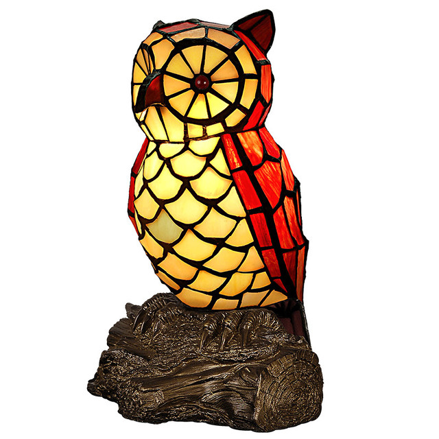 Nordic Art Deco Animal Bird Parrot Resin Stained Glass LED Night-light,Small Decorative Nightlight Lamp Kids Children Bedside