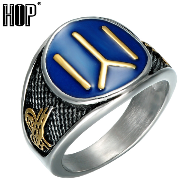 HIP Punk Eastern Chinese Character Fire Mens Rings Cool Stainless Steel Ottomans