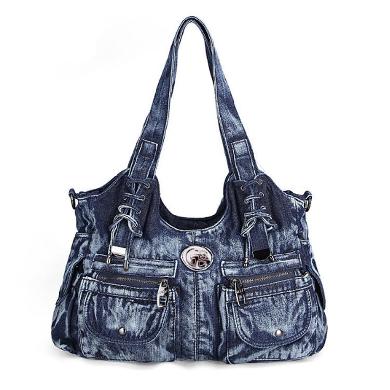 Fashion Women Bag Vintage Casual Denim Handbag Lady Large Capacity Jeans Tote Weave tape Creative Shoulderbag tassel bag Denim