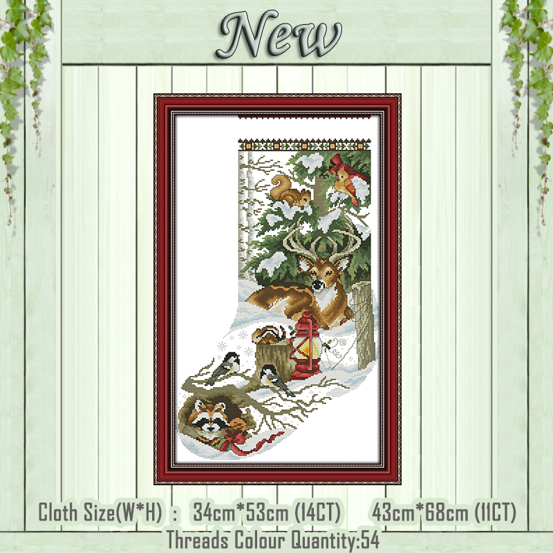 Winter Jungle Christmas Stocking Painting Counted Print On The Canvas DMC 11CT 14CT Kits Cross Stitch Embroidery Needlework Sets