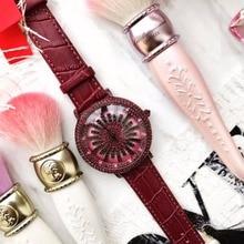 Grande Botão Rotativo Flor Relógio de Pulso Mulheres Se Vestem de Strass Relógios Moda Casual Relógio de Quartzo Marca de Luxo relogio feminino