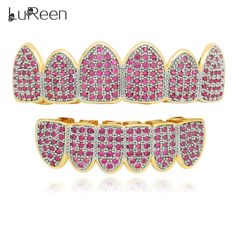 LuReen Gold Teeth Grillz Micro Pave Pink Iced Out Grills Hip Hop Top&Bottom Dental Grill Vampire Teeth Caps Mouth Jewelry Party цены
