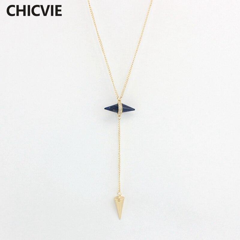 Купить ожерелье chicvie для женщин длинные конические ожерелья и подвески