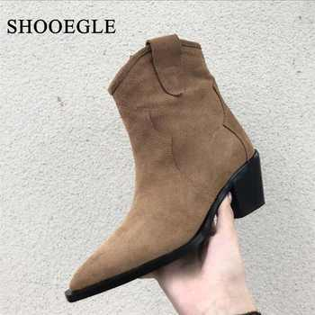 New 2019 Runway Autumn Shoes Western Cowboy Boots For Women Suede Leather Low Heel Ankle Boots Pointed Toe Med Heels Botas Mujer - DISCOUNT ITEM  55% OFF All Category
