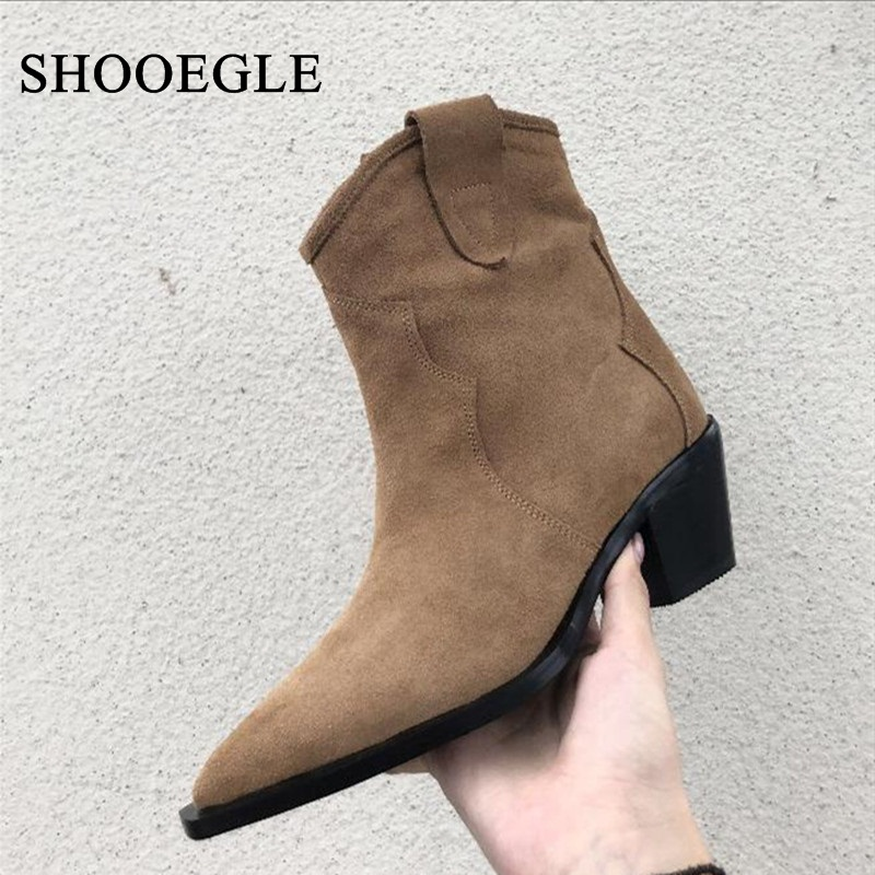 New 2019 Runway Cowboy Shoes Women Suede Leather Ankle Boots High Heels Pointed Toe Med Heels Embroidered Shoes Boats MujerNew 2019 Runway Cowboy Shoes Women Suede Leather Ankle Boots High Heels Pointed Toe Med Heels Embroidered Shoes Boats Mujer