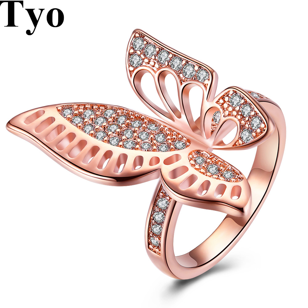 Fashion Women\'s Crystal Rose Gold Butterfly Rings Vintage Female ...
