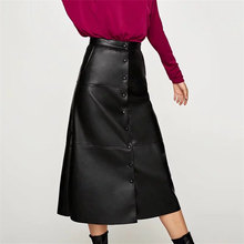 Elegant High Waist Faux Leather Skirts New Arrival Office Lady Women Warm A-Line Skirts Plus Size Skirt black skirt maxi skirt(China)