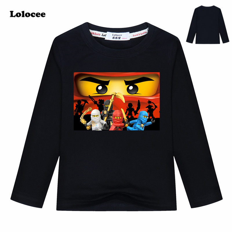 Kids Spring Ninjago Kai Cartoon T shirts Boys Ninja Movie Clothing Cotton Tees Girls Tops Kids Autumn Costume tshirts 3-13y