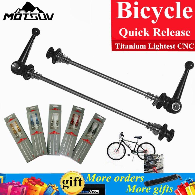 Bicycle quick release titanium lightest cnc alloy cycling wheel hub skewers set mtb road bike hub