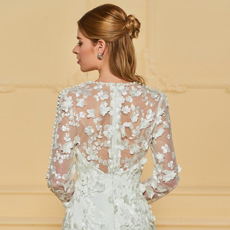 Dressv Ivory rochie de mireasa lunga V rochie lunga cu maneca lunga - Rochii de mireasa - Fotografie 5