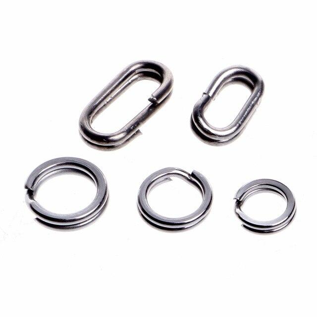 200 piezas de acero inoxidable Señuelos de Pesca anillos divididos a presión para conector giratorio de pescado