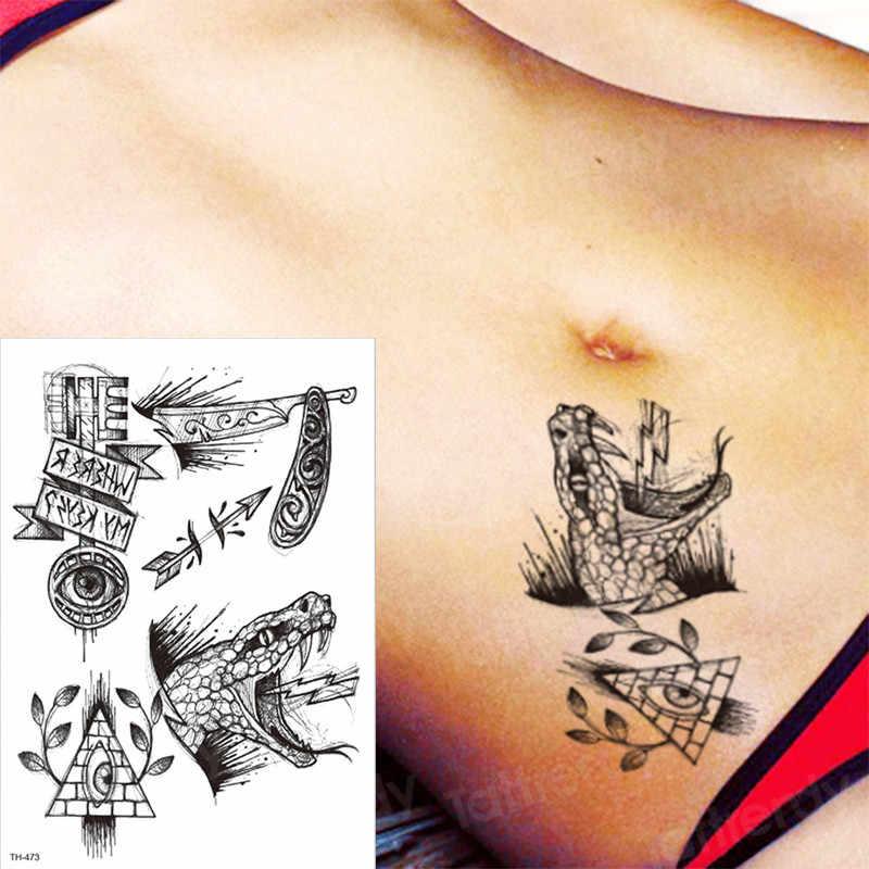 2019 new hot tattoo & body art swallow eye knife tattoo sticker halloween tattoo designs triangle temporary tattoo neck body arm