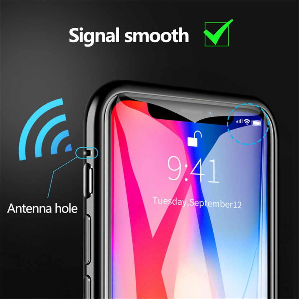 Adsorção magnética de vidro de metal para o iphone 11 pro max xr xs max caso magnético para o iphone 7 8 6 s plus capa presente 2.5d vidro