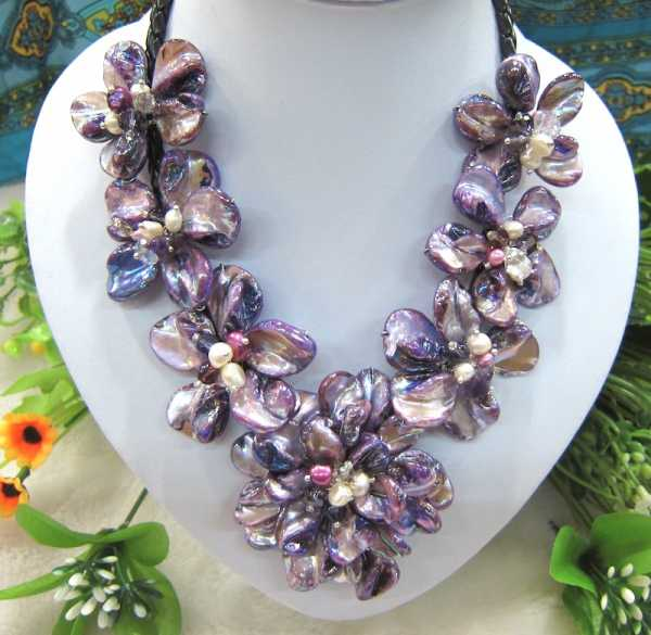 Classic mother of pearl baroque shell flower necklace for women fashion jewelry