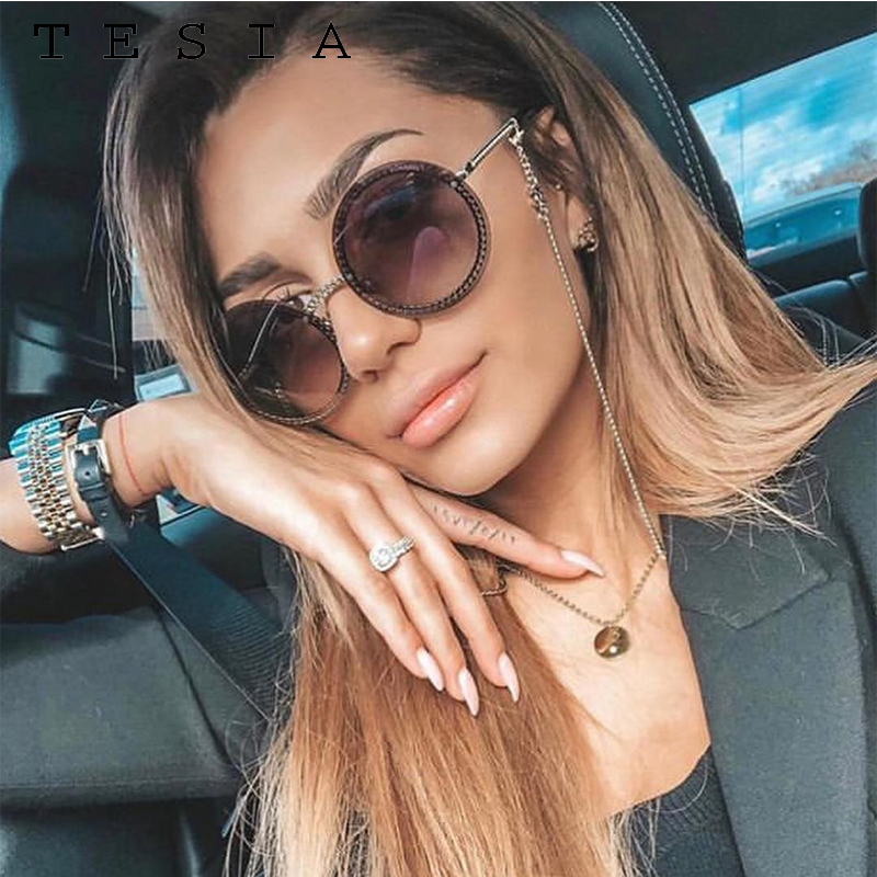Brand Round Sunglasses Women Luxury Rimless Feamle Shades Europe Popular Ins Sun glasses lunettes de sol femme 1