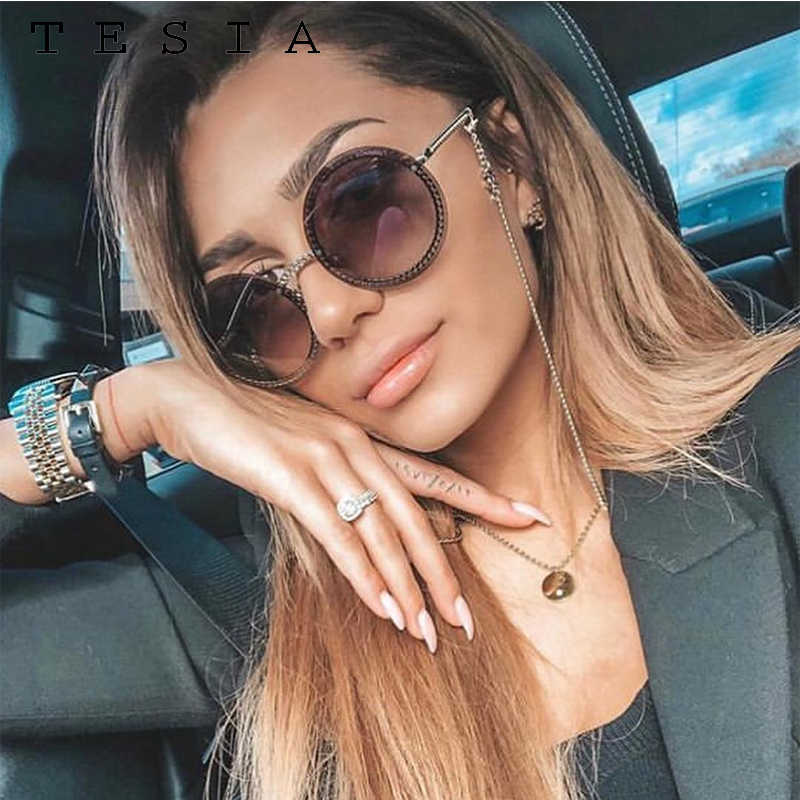 Marca redonda óculos de sol feminino luxo sem aro feamle tons europa popular ins óculos de sol lunettes de sol femme