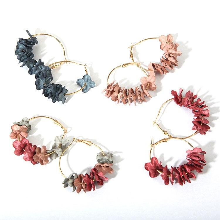 Women Sweety Colourful Petal Alloy Ear Circle Fashion Elegant Fabric Flower Earring For Big Earrings Charm