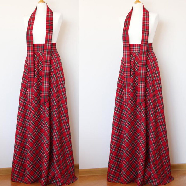 79e7b25d490 WBCTW Red tartan maxi skirt 9XL 10XL Plus Size plaid maxi skirt with belt  2019 NEW Fashion Spring Autumn Long woman skirt
