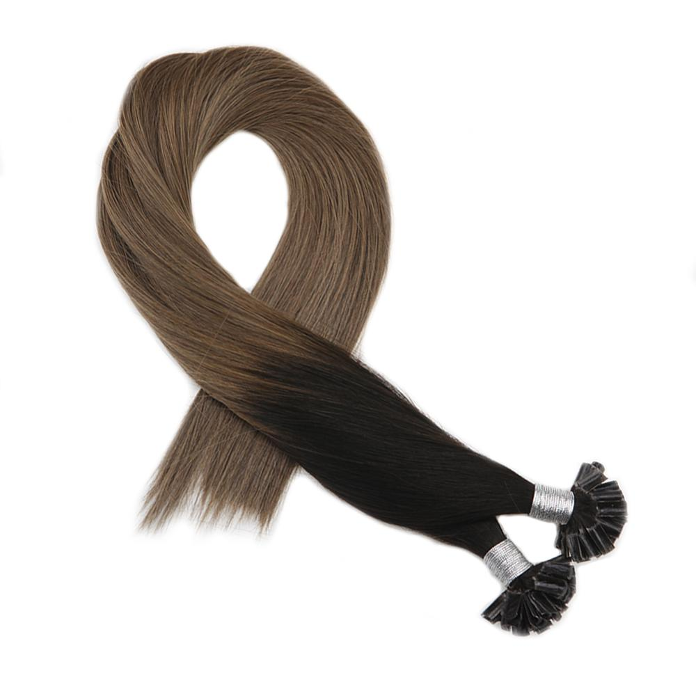 Moresoo Fusion Nail U-tip Hair Extensions Ombre Color T#1B/10 Machine Remy Pre-bonded Extensions 1G/S 50S/Pack